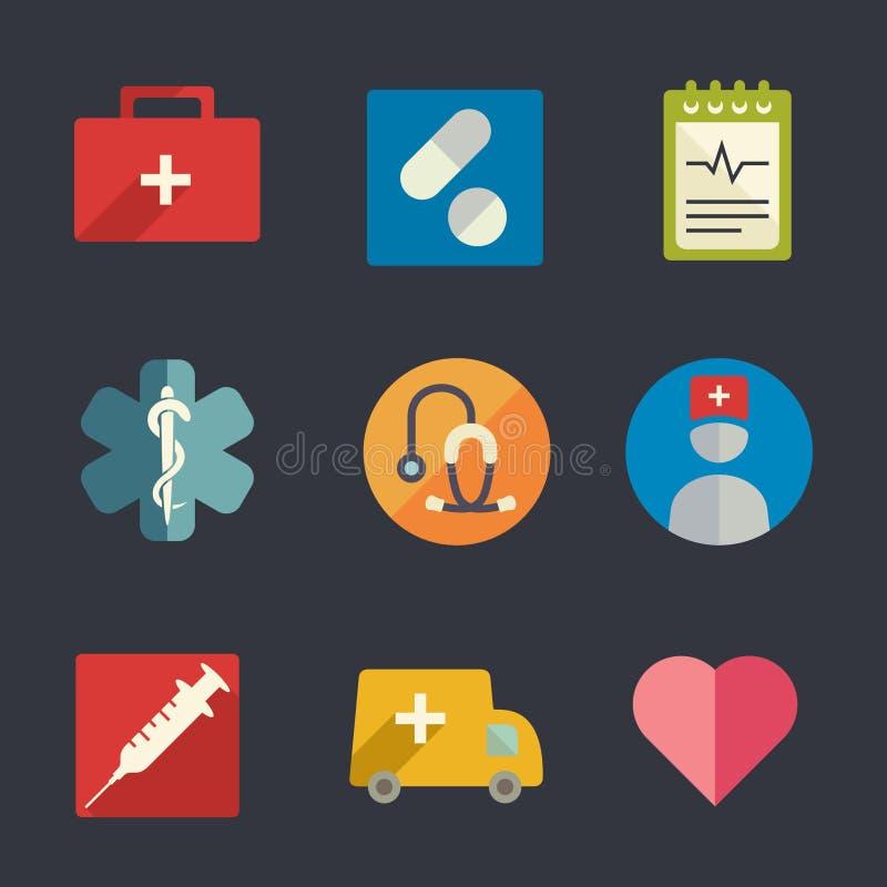 Plana medicinska symboler vektor illustrationer