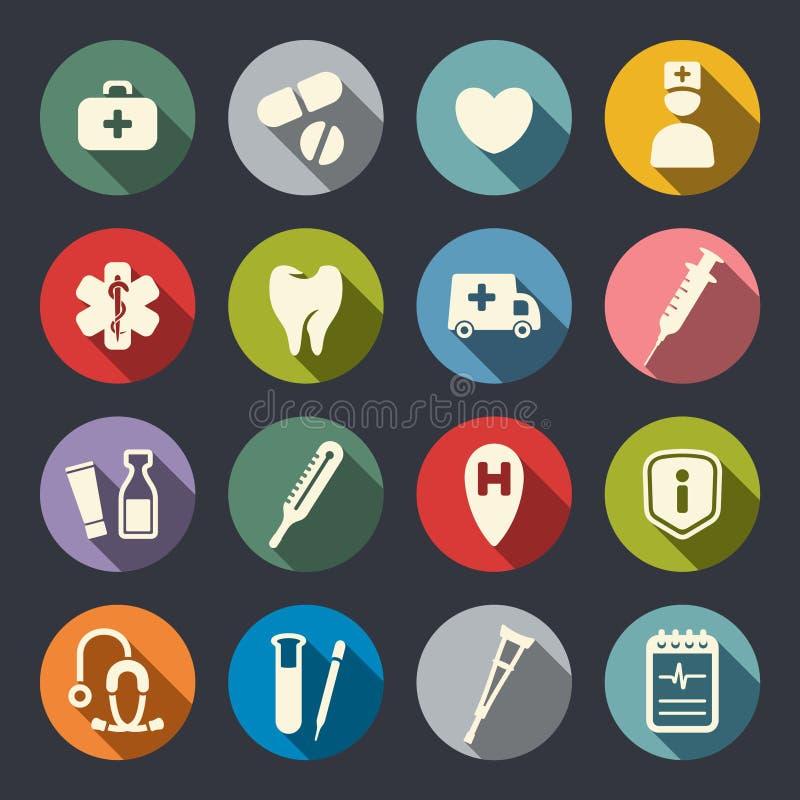 Plana medicinska symboler royaltyfri illustrationer