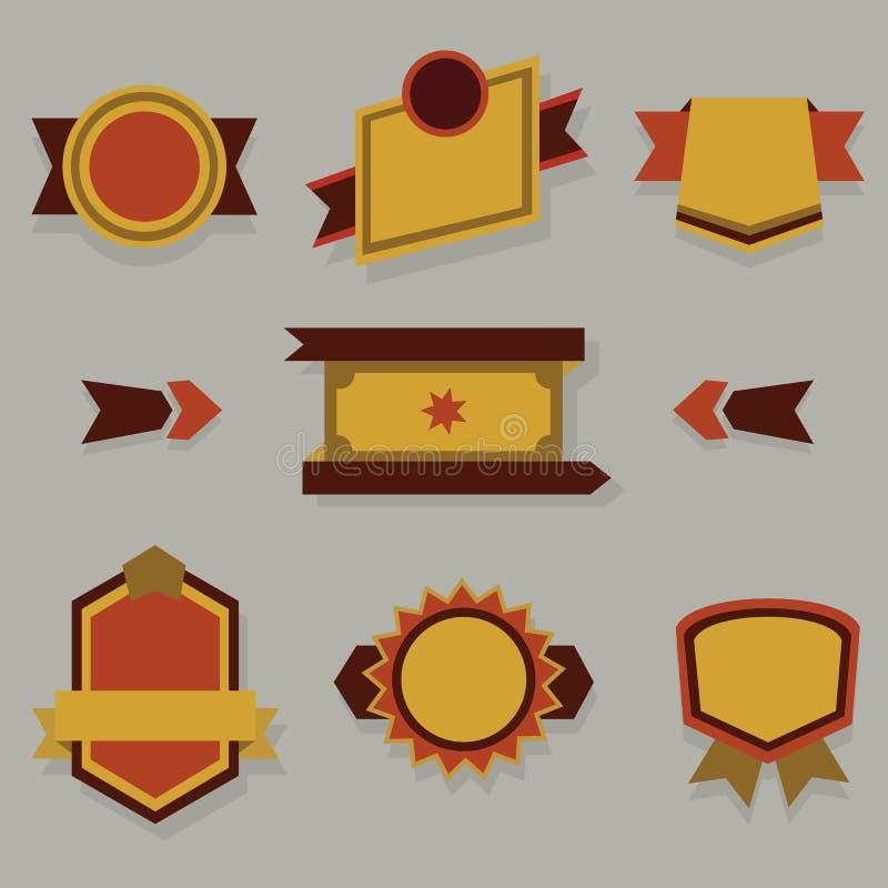 Plana moderna emblem, etiketter och band ställde in stock illustrationer