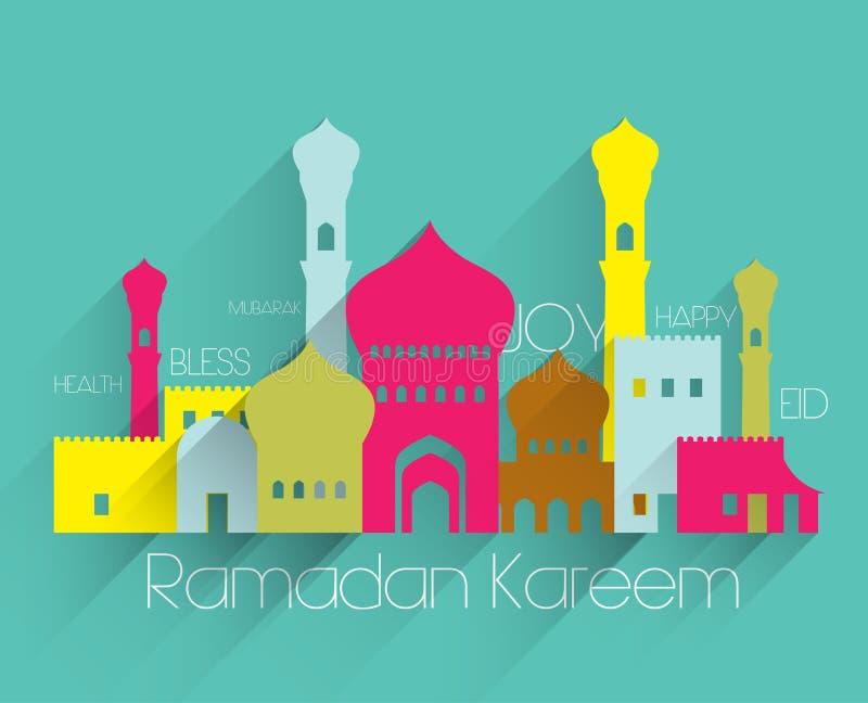 Plana muslimska moskédiagram för vektor royaltyfri illustrationer