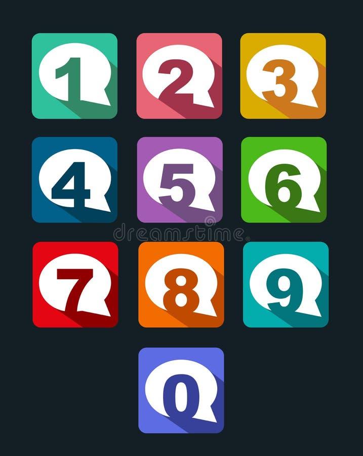 Plana nummer för symbolsbubblakonversation med långt s vektor illustrationer