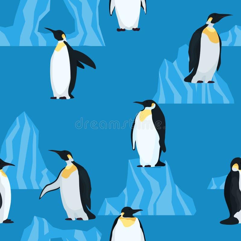 Plana pingvin på blå sömlös modell royaltyfri illustrationer
