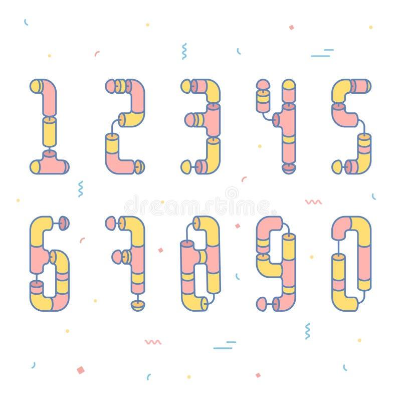 Plana rörnummer stock illustrationer