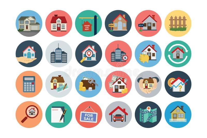 Plana Real Estate vektorsymboler 1 stock illustrationer