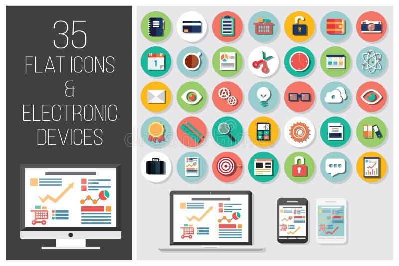 35 plana rengöringsduksymboler och 4 elektroniska apparater royaltyfri illustrationer
