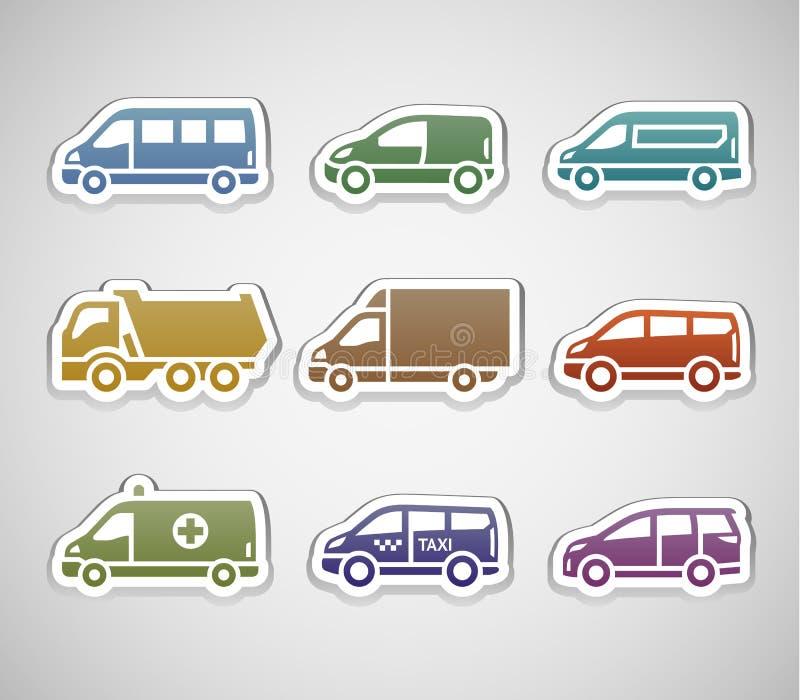 Plana retro färgklistermärkear - uppsättning fem royaltyfri illustrationer