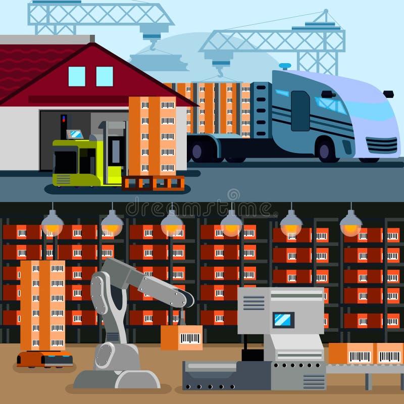 Plana sammansättningar för automatiserat lager royaltyfri illustrationer