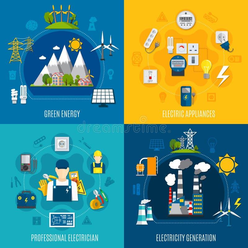 Plana sammansättningar för elektricitet stock illustrationer