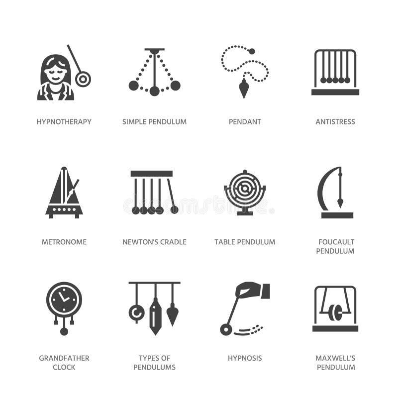 Plana skårasymboler för vektor av klockpendeltyper Newton vagga, metronom, tabellklockpendel, perpetuum mobile, gyroskop tecken vektor illustrationer