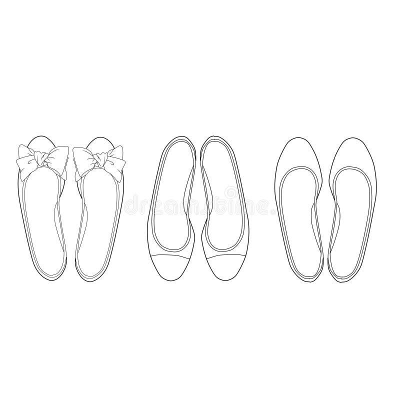 plana skor stock illustrationer