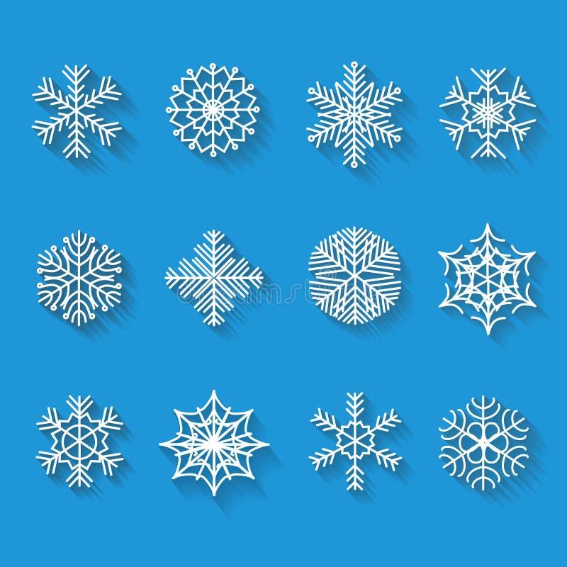 Plana snöflingor Symboler som isoleras på en blått stock illustrationer
