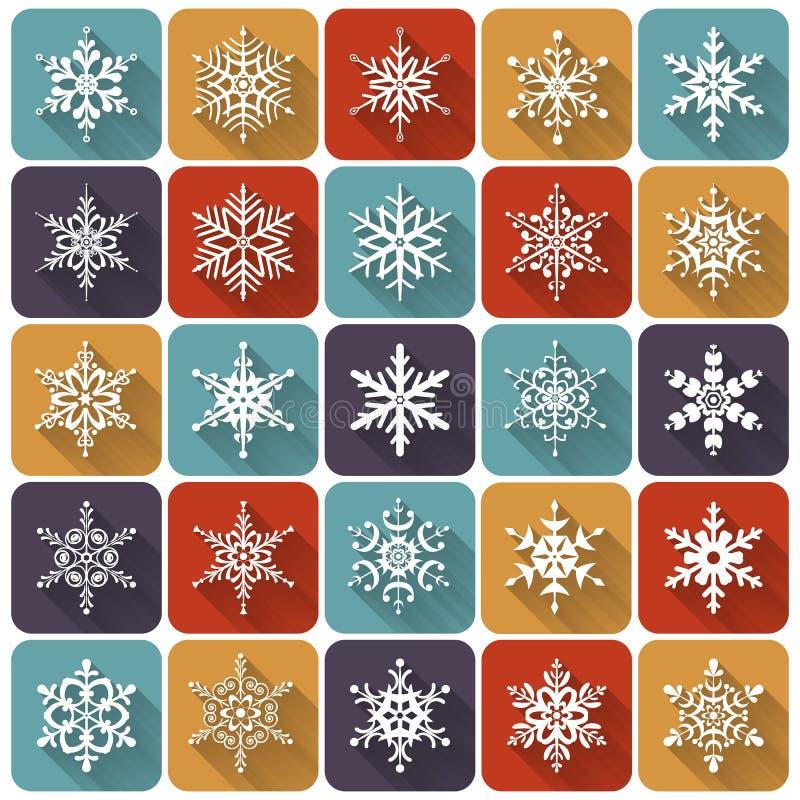 Plana snöflingor symbolsinternetpictograms ställde in vektorrengöringsdukwebsite royaltyfri illustrationer