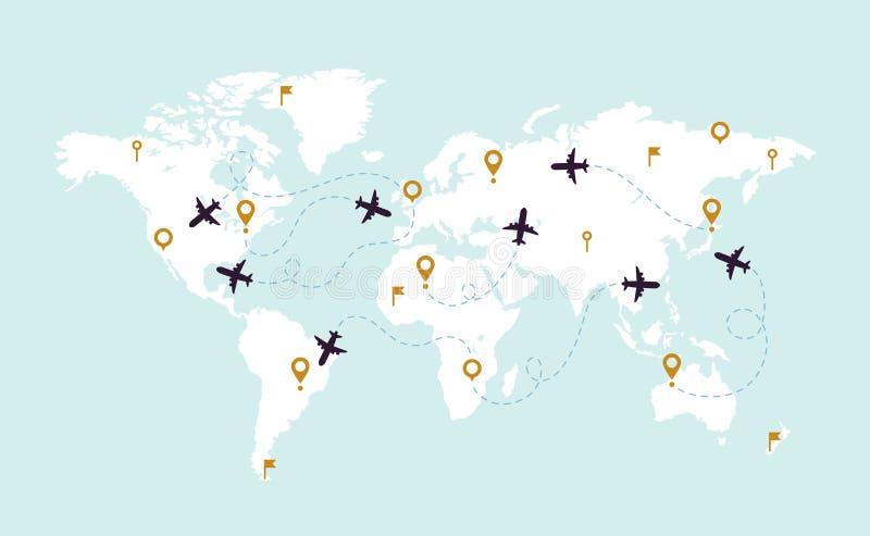 Plana spår för världskarta Flygspårbana på världskarta, flygplanruttlinje och illustration för loppruttvektor vektor illustrationer
