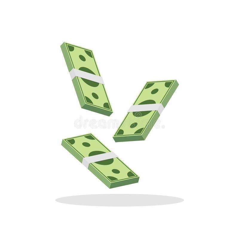 Plana stilflygpengar Fallande vektorillustration för dollar royaltyfri illustrationer