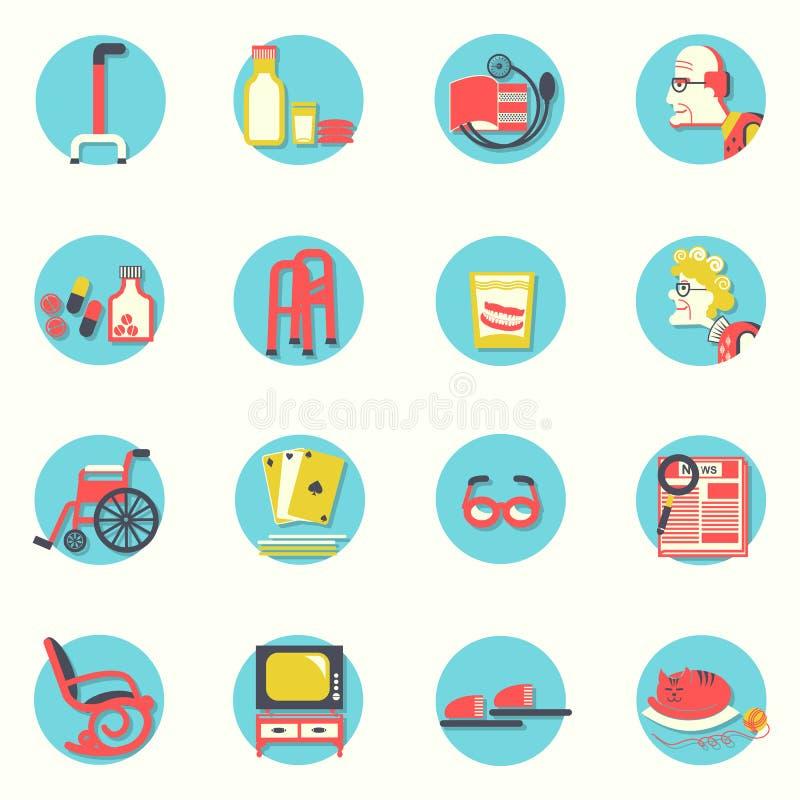 Plana symboler Äldre folk och objekt för liv royaltyfri illustrationer