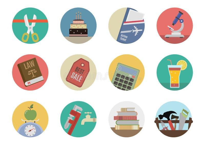 Plana symboler stock illustrationer