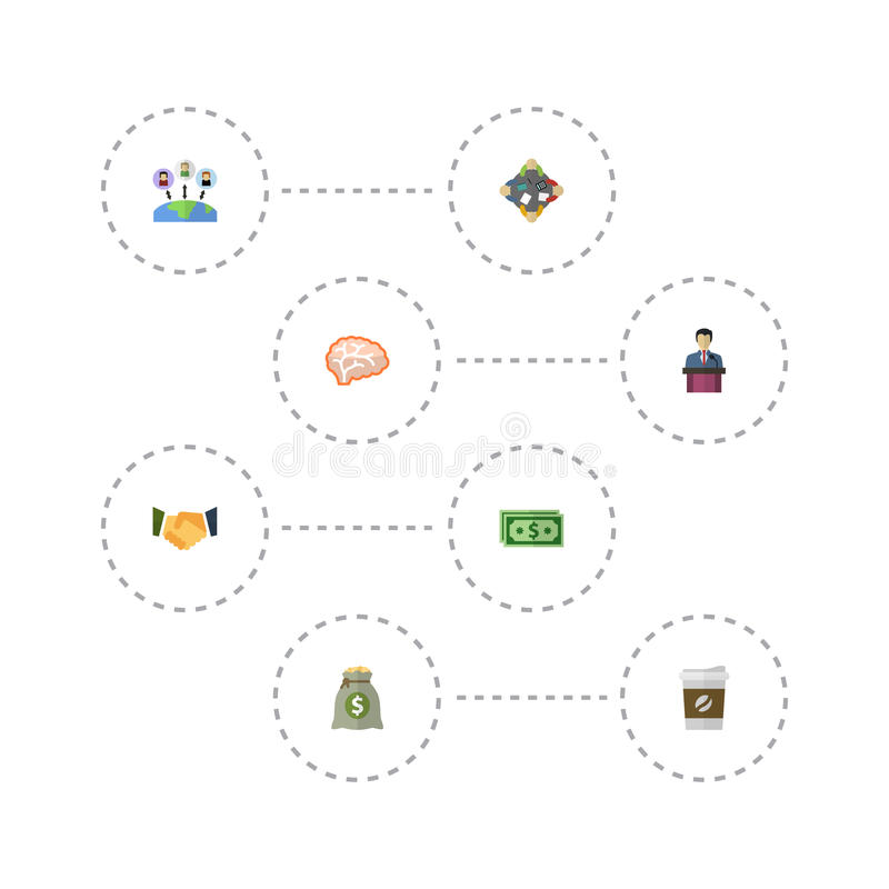 Plana symboler administration, mening, inkomst och andra vektorbeståndsdelar vektor illustrationer