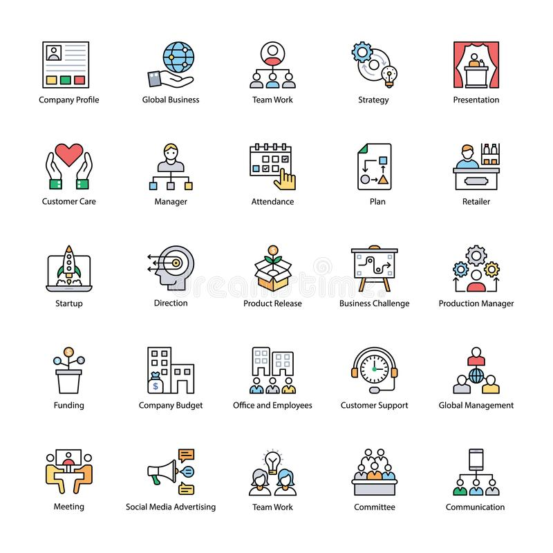 Plana symboler av affärsledning royaltyfri illustrationer