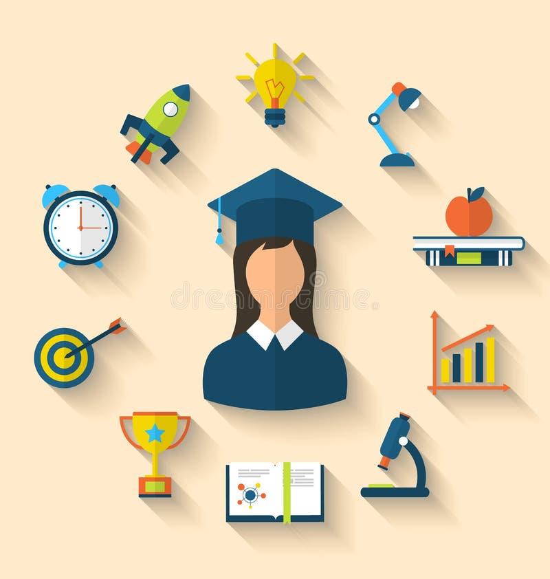 Plana symboler av avläggandet av examen och objekt för högstadium och högskola stock illustrationer