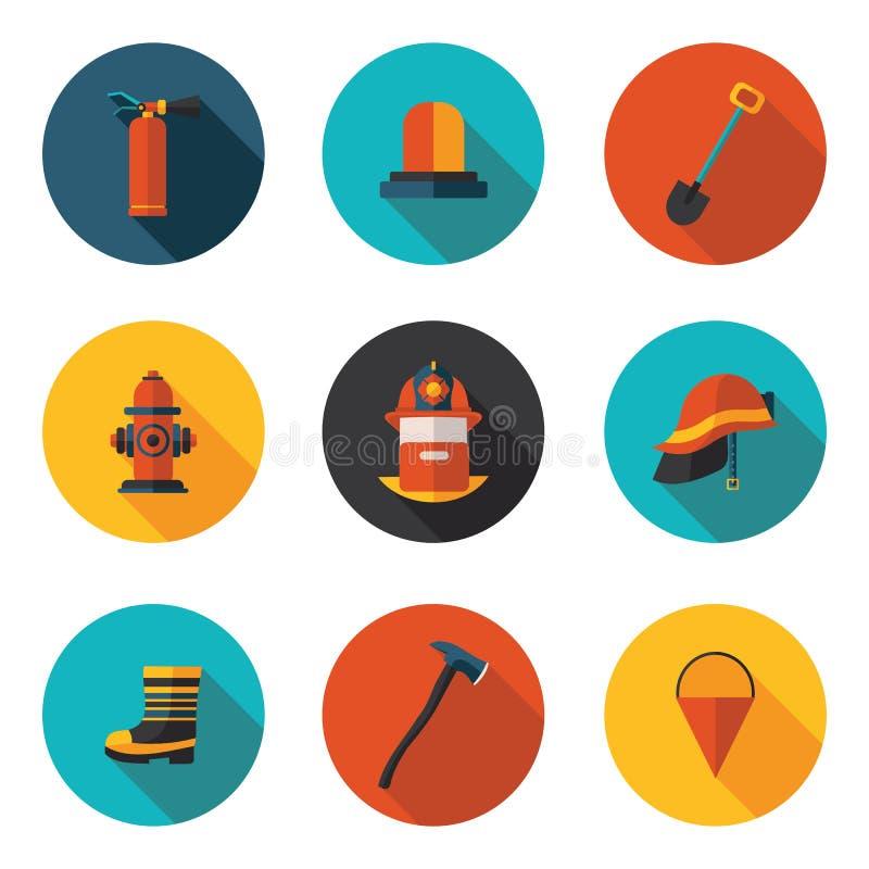 Plana symboler av brandmannen vektor illustrationer