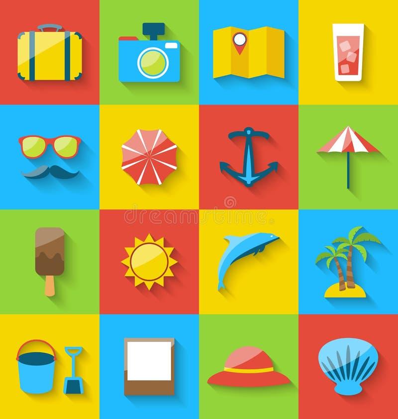Plana symboler av ferie reser, sommarpictogramen, havsfritid stock illustrationer