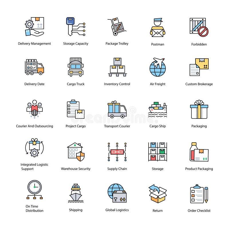 Plana symboler av logistikleveransen vektor illustrationer