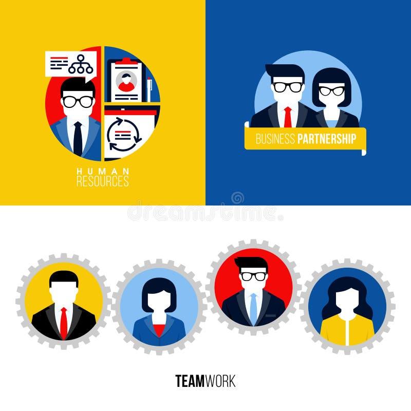 Plana symboler av personalresurser, affärspartnerskap, teamwork royaltyfri illustrationer