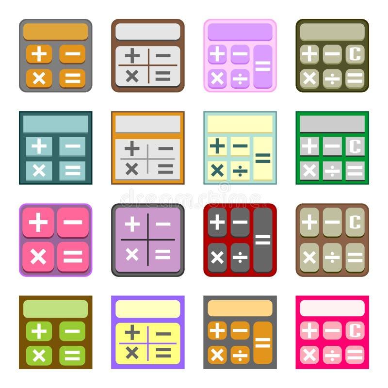 Plana symboler av räknemaskiner stock illustrationer