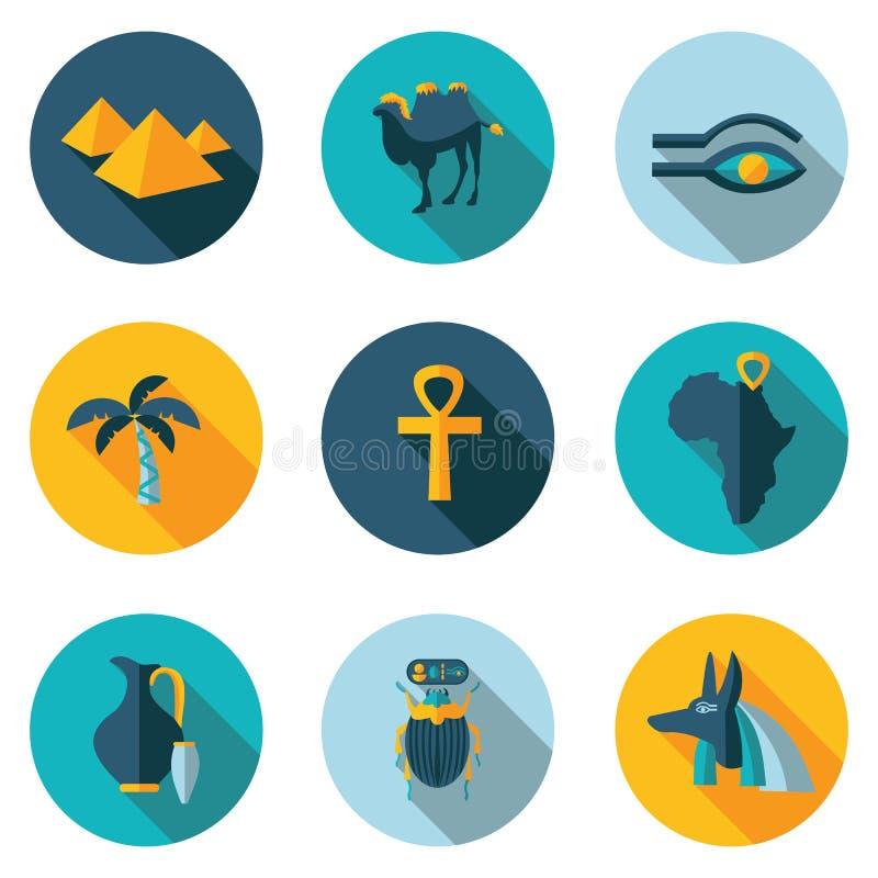 Plana symboler Egypten royaltyfri illustrationer