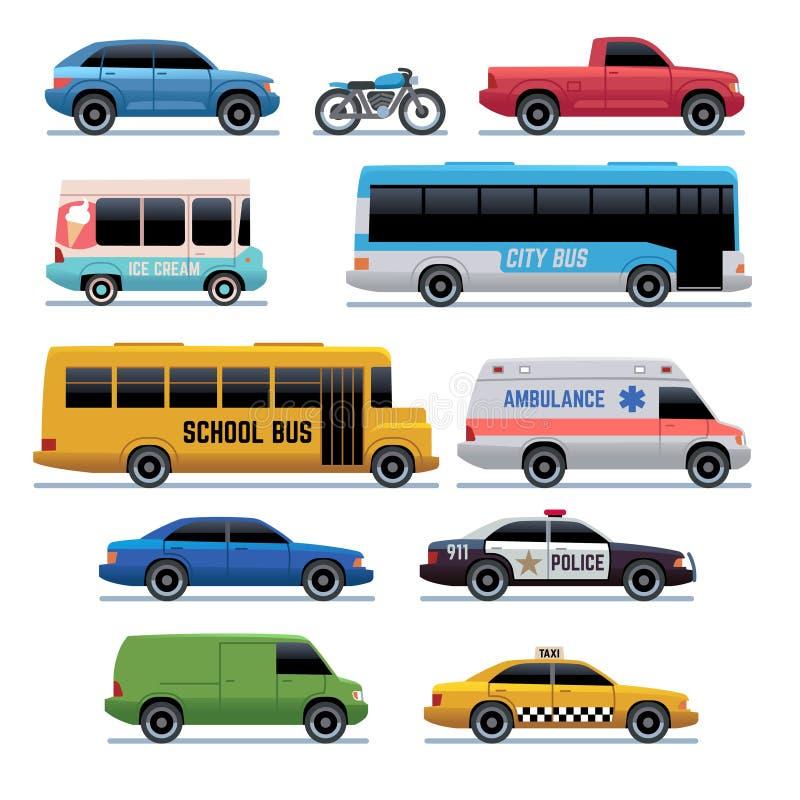Plana symboler för bil Offentlig stadstransportbuss, bilar och cykel, lastbil Symboler för medelvektortecknad film vektor illustrationer