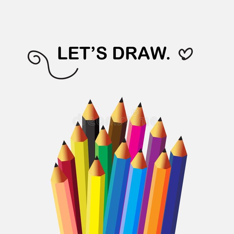 Plana symboler för blyertspennor i isolatbakgrund stock illustrationer