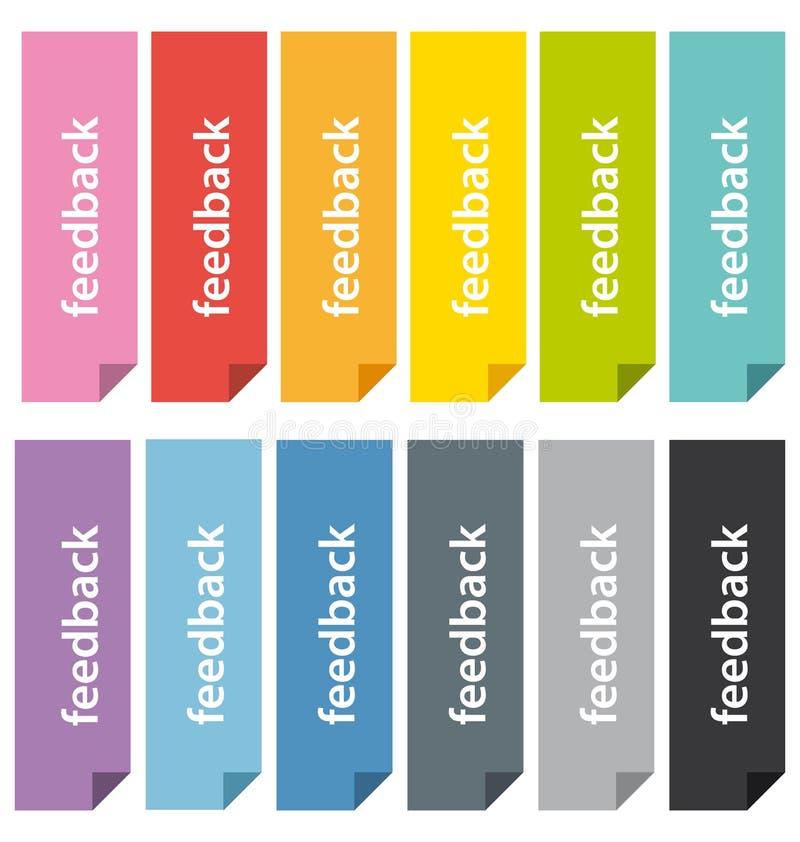 Plana symboler för bokmärker eller för flikar för designåterkoppling. royaltyfri illustrationer