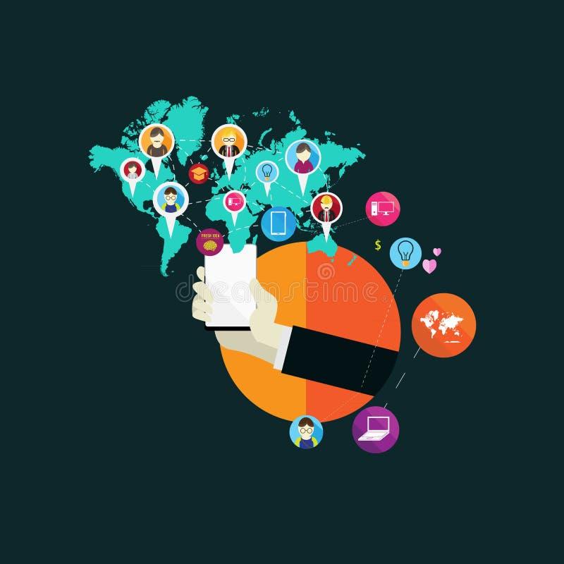 Plana symboler för designbegrepp för rengöringsduk- och mobiltelefonservice och apps Symboler för den mobila marknadsföringen, em royaltyfri illustrationer