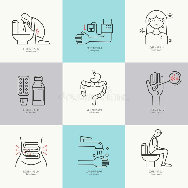 Plana symboler för diarré vektor illustrationer