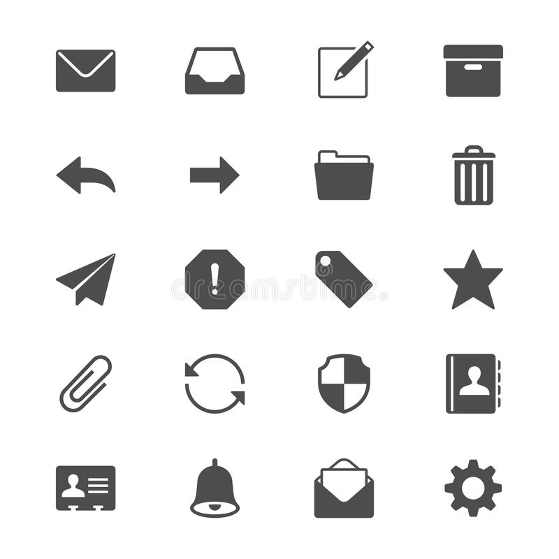 Plana symboler för Email royaltyfri illustrationer