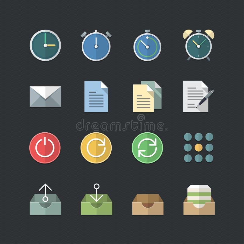 Plana symboler för för färgstilkontor & affär ställde in royaltyfri illustrationer