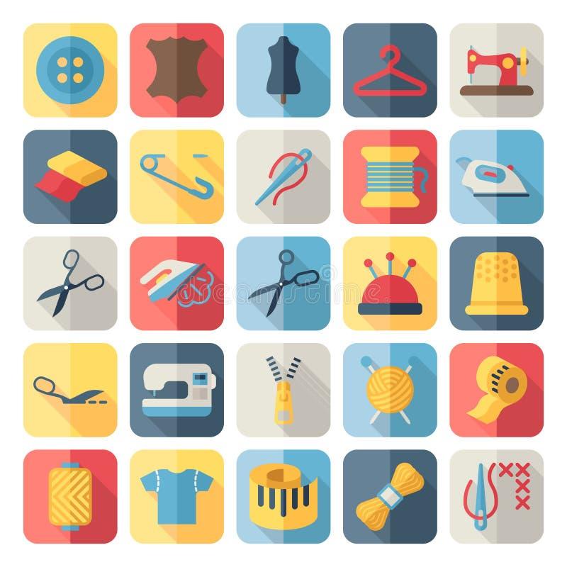 Plana symboler för för vektorsömnadutrustning och handarbete stock illustrationer