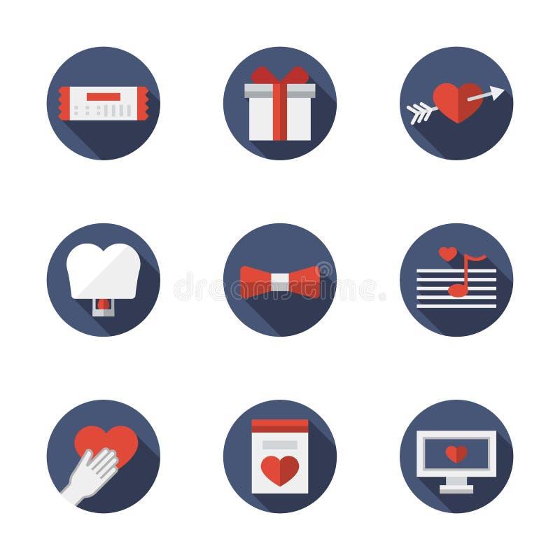 Plana symboler för förhållanden för blåttrundaförälskelse stock illustrationer