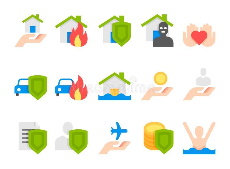 Plana symboler för försäkring uppsättning för försäkringvektorsymboler royaltyfri illustrationer