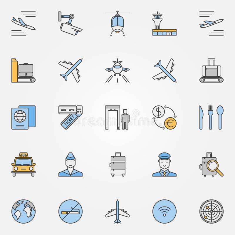 Plana symboler för flygplats royaltyfri illustrationer