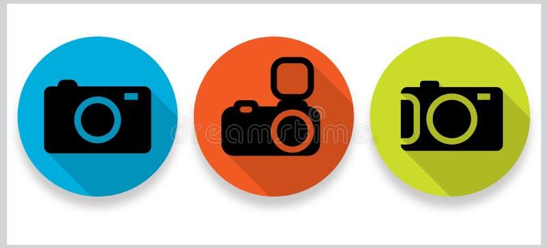 Plana symboler för fotogalleri med långa skuggor royaltyfria foton