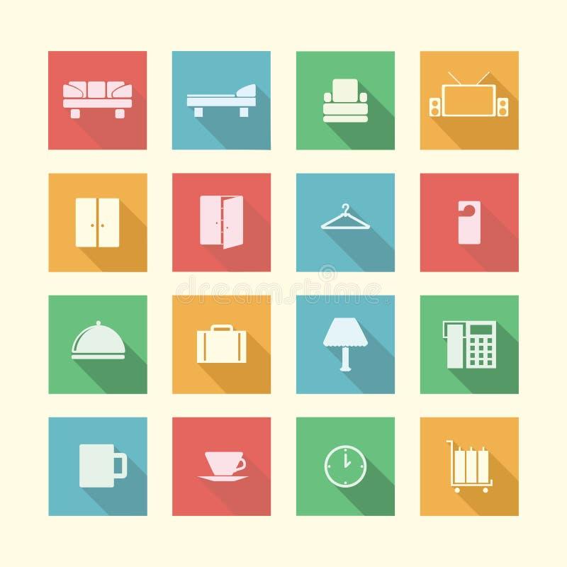 Plana symboler för hotell royaltyfri illustrationer
