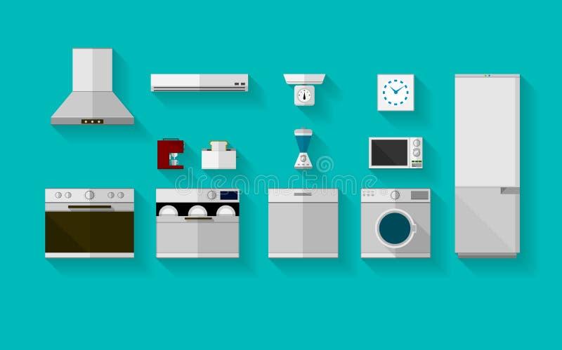 Plana symboler för kökanordningar vektor illustrationer