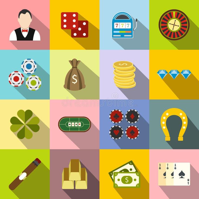 Plana symboler för kasino royaltyfri illustrationer
