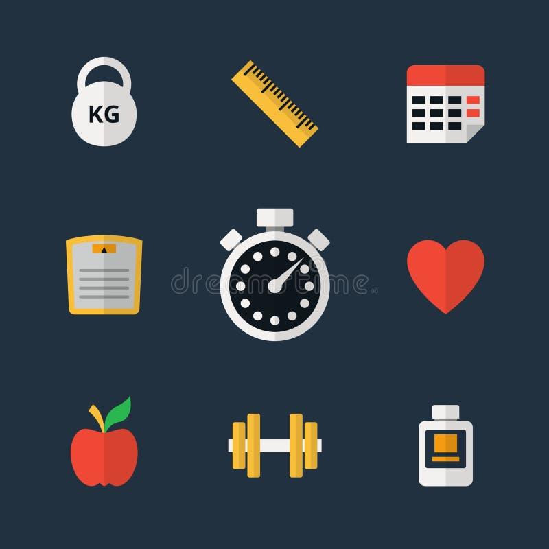 Plana symboler för kondition royaltyfri illustrationer