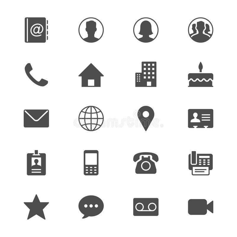 Plana symboler för kontakt stock illustrationer