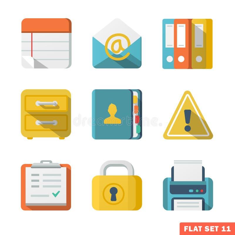 Plana symboler för kontor royaltyfri illustrationer