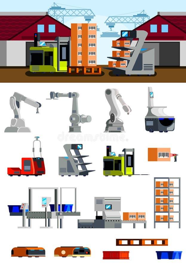 Plana symboler för lagerrobotar vektor illustrationer