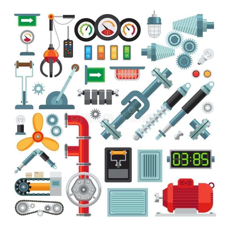 Plana symboler för maskineri stock illustrationer