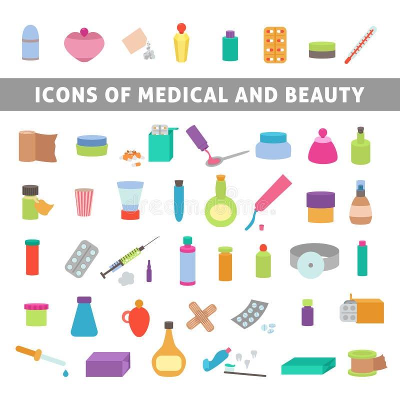 Plana symboler för medicin och skönhet vektor illustrationer